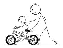 Cartoon of Father and Son Learning to Ride a Bike or Bicycle. Cartoon stick man drawing conceptual illustration of father teaching and son learning to ride a Stock Image