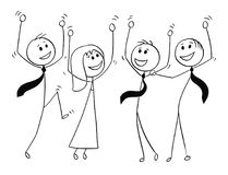 Cartoon of Group of Business People Celebrating Success. Cartoon stick man drawing conceptual illustration of group or team of business people celebrating Stock Image