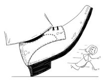 Cartoon of Large Foot Shoe Ready to Step Down on the Businesswoman. Cartoon stick man drawing conceptual illustration of large foot in shoe ready to step down on Royalty Free Stock Photos