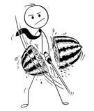 Conceptual Cartoon of Businessman Cutting Water Melon with Katana Sword vector illustration