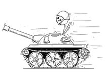 Cartoon of Soldier in Small Tank. Concept of War as Game. Cartoon stick man drawing conceptual illustration of man in small tank or tankette going to enjoy the Royalty Free Stock Images
