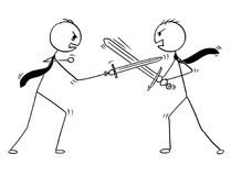 Conceptual Cartoon of Two Businessmen Arguing and Fighting. Cartoon stick man drawing conceptual illustration of two businessmen arguing and sword fighting Royalty Free Stock Image