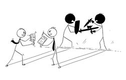 Conceptual Cartoon of Two Businessmen Arguing or Fighting. Cartoon stick man drawing conceptual illustration of two businessmen arguing and their shadow sword Royalty Free Stock Photos