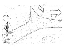 Conceptual Cartoon of Business Man on Crossroad Making Choice. Cartoon stick man drawing illustration of businessman standing on the crossroad and making choice Royalty Free Stock Photo