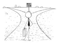 Conceptual Cartoon of Business Man on Crossroad Making Choice. Cartoon stick man drawing illustration of businessman standing on the crossroad and making choice Royalty Free Stock Photos