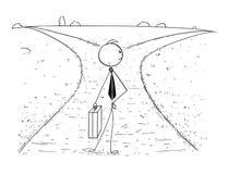 Conceptual Cartoon of Business Man on Crossroad Making Choice. Cartoon stick man drawing illustration of businessman standing on the crossroad and making choice Stock Image