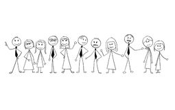 Cartoon of Crowd of Business People Isolated. Royalty Free Stock Photos