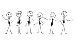 Cartoon of Crowd of Business Businessmen Men People Isolated. Royalty Free Stock Images