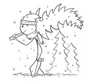 Man Carrying Tree from Forest for Christmas. Cartoon stick man drawing illustration of man with saw carrying small tree from forest in snowfall for Christmas Stock Photography