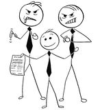 Smiling Businessman With Two Dangerous Guys Offering Unfair Agre. Cartoon stick man illustration of warm smiling businessman with two dangerous assistants Royalty Free Stock Photography