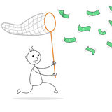 Cartoon stick man catching money Stock Photos