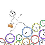 Cartoon stick man running over clocks in hurry Stock Images