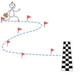 Cartoon stick man running towards finish line. Illustration of cartoon stick man running towards finish line Royalty Free Stock Photos