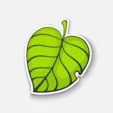 Cartoon sticker with green tree leaf Stock Photos
