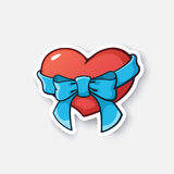 Cartoon sticker heart with ribbon. Vector illustration. Heart with ribbon and bow-knot. Cartoon sticker in comic style with contour. Decoration for greeting vector illustration