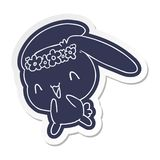 Cartoon sticker kawaii cute furry bunny. Illustrated cartoon sticker kawaii cute furry bunny vector illustration