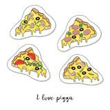 Cartoon sticker with pizza pieces on white background. Vector illustration royalty free illustration