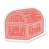Cartoon sticker of a treasure chest. A creative illustrated cartoon sticker of a treasure chest royalty free illustration
