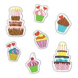 Cartoon stickers with cupcakes and cakes on white background. vector illustration