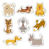Cartoon stickers with dogs on white background. vector illustration