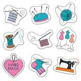 Cartoon stickers with knitting, sewing and needlework colorful i. Cons on white background. Vector illustration Royalty Free Stock Photos