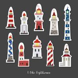 Cartoon stickers with lighthouses on dark background. vector illustration