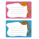 Cartoon sticky tags with cat. wall paper sheets. For boys and girls Royalty Free Stock Images