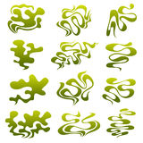 Cartoon stinky smell bubbles, water vapor and stench aroma streams vector set. Aroma smoke stream, odour toxic green illustration vector illustration