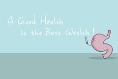 Cartoon stomach with slogan Stock Photo