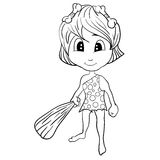 Cartoon Stone Age Cute Cave Girl Royalty Free Stock Images