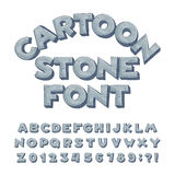 Cartoon stone alphabet font. Type letters, numbers, symbols. royalty free illustration