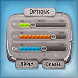 Cartoon Stone Control Panel For Ui Game. Illustration of a funny cartoon design ui game stone options control panel including status and level bars, for app Stock Photo