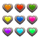 Cartoon stone hearts set. Vector design elements, colorful assets for web or game design, GUI life icons, isolated on white background Stock Illustration