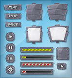 Cartoon Stone And Rock Icons For Ui Game. Illustration of a set of various cartoon design ui game stony and rock elements including banners, signs, buttons, load vector illustration