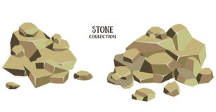 Cartoon stone set. Brown rock collection. Vector illustration isolated on white background Royalty Free Stock Images