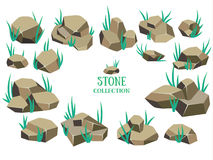 Cartoon stone set. Grey rock collection. Stock Photography