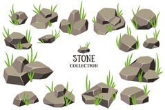 Cartoon stone set. Grey rock with grass collection. Vector illustration isolated on white background Royalty Free Stock Photography