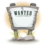 Cartoon Stone Sign With Wanted On Torn Paper Royalty Free Stock Photo