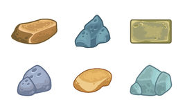 Cartoon stones and minerals set Royalty Free Stock Photography