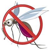 Cartoon STOP Mosquito. Isolated on White Background Stock Image