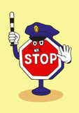 Cartoon stop sign as a police officer. Stock Images