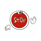Cartoon stop sign. On white background. Vector character Stock Image