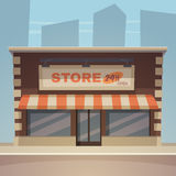Cartoon Store. Front view of the store with city in background, cartoon vector illustration Stock Photography