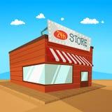 Cartoon Store. Store on the road in desert, cartoon vector illustration