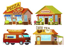 Cartoon Storefronts Set. Cartoon style street restaurant fronts and food truck set with signs and carpets of different colour vector illustration Royalty Free Stock Photo