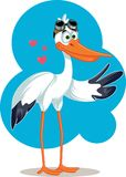 Cartoon Stork with Aviator Glasses Baby Announcement Vector Card Stock Photo