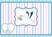 Cartoon stork with baby boy card Royalty Free Stock Image