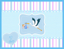 Cartoon stork with baby boy card Royalty Free Stock Photography
