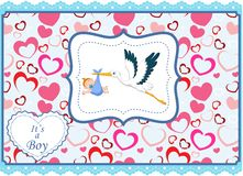 Cartoon stork with baby boy card Royalty Free Stock Images