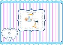 Cartoon stork with baby boy card Royalty Free Stock Photos